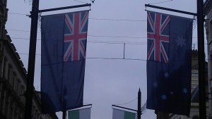 Australia flags in St Mary Street