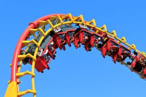Roller coaster blue sky