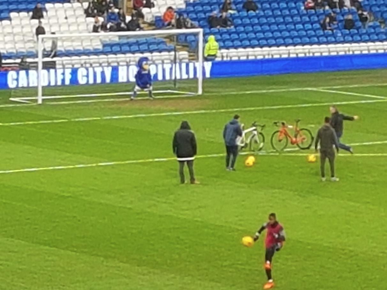 Bikes on pitch