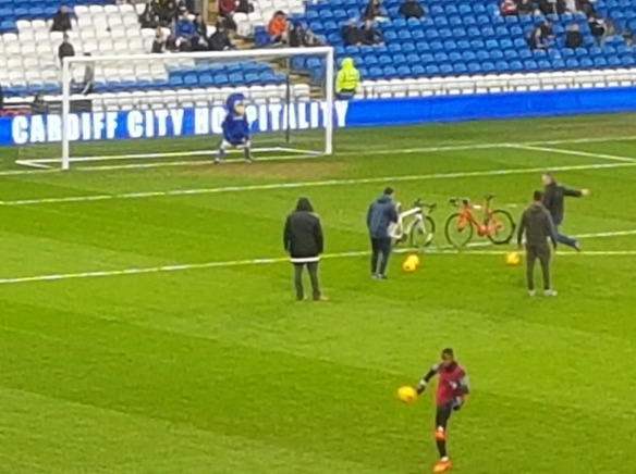 Bikes on pitch