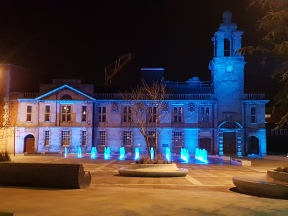 Illuminated Building blue