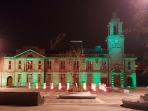 Illuminated building green