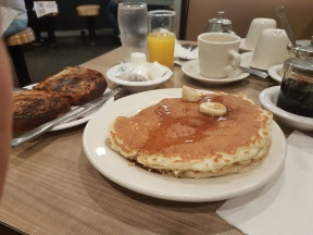Lou Mitchell's banana pancakes and raison toast