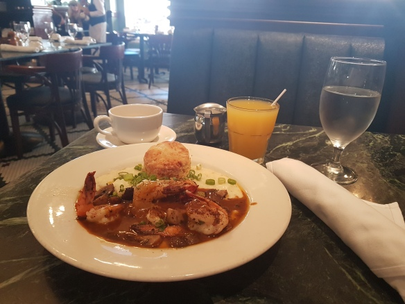 Palace Cafe shrimp grits and creole muniere