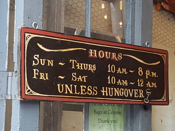 Hungover shop sign