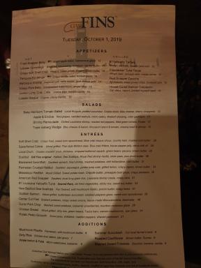 GW Fins menu